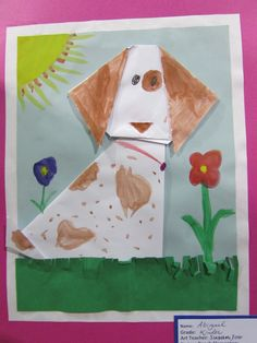 "Kindergarten origami dog; approx. 9"" X 12""; lesson by art teacher: Susan Joe"