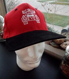 Retro Meyer Concrete RED w Black Suede Bill Truck hat USA Snapback Cap Truckers #KC #Trucker