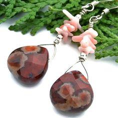 Apple Jasper Coral Handmade Earrings Gemstone OOAK Beaded Jewelry   ShadowDogDesigns - Jewelry on ArtFire