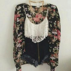 Boho chic/edgy outfit with floral cardigan, lace cropped top and distressed shorts