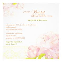 Southern Peony Flowers Spring Bridal Shower Invite
