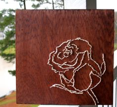 Simple Rose String Art/ Flower String Art by DistantRealms on Etsy