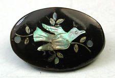 Antique Oval Horn Button w/ Iridsent Shell & Silver Bird Inlay Design