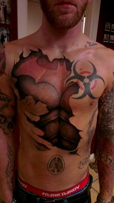 Amazing Batman armor chest tattoo, look at that thing!