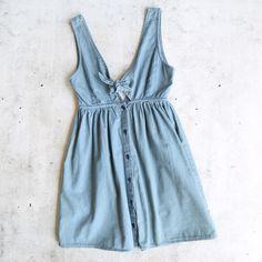 motel rocks - lyset cutout denim summer wash day dress - chambray