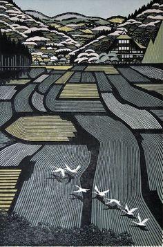 東京藝術家Ray Morimura(雷森村)的木刻版畫作品.