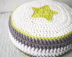 Green/White/Gray Crochet Floor Cushions - Ottoman Kids pouf - Nursery Ottoman Pouf - Kids Floor Cushion