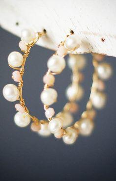 Freshwater Pearl 14k Gold Hoop Earring