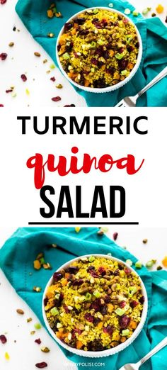 If you like flavor-packed recipes that will leave you feeling great, you will fall in love with this Jeweled Turmeric Quinoa Salad. Savory quinoa is perfectly balanced with dried apricots, cranberries, and raisins. Add in crunchy pistachios, and brighten it up with a squeeze of lemon juice for a dish that never fails to satisfy. I have lost count of how many times I have made this recipe, and I think you will agree that it is a keeper. #quinoasalad #quinoa #turmeric Quinoa Recipes Easy, Vegetarian Salad Recipes, Healthy Gluten Free Recipes, Healthy Salads, Easy High Protein Meals, High Protein Recipes, Dried Apricots, Dinner Salads, Pistachios