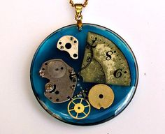 Steampunk Necklace Pendant Watch Parts Resin Pocket by GUSFREE
