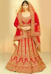 Red Raw Silk Lehenga Choli with Dupatta