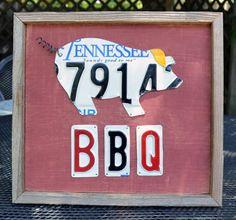 License Plate Art - BBQ Pork - Grilling - BBQ Sign