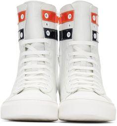 Raf Simons - Ecru Leather Stripes High-Top Sneakers