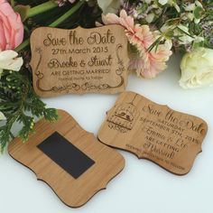 Engraved Wooden Wedding 'Save the Date' with Magnet