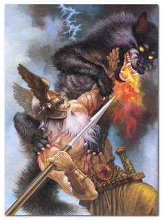 In Norse mythology, Fenrir  or Vánagandr  is a monstrous wolf.   In both the Poetic Edda and Prose Edda, Fenrir is the father of the wolves Sköll and Hati Hróðvitnisson, is a son of Loki, and is foretold to kill the god Odin during the events of Ragnarök, but will in turn be killed by Odin's son Víðarr.