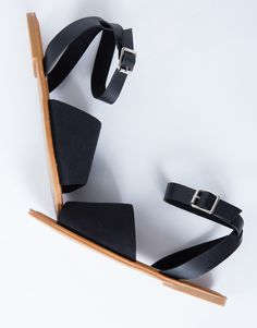 Buckled Peep Toe Sandals - Black Leather Sandals - Canvas Sandals – 2020AVE