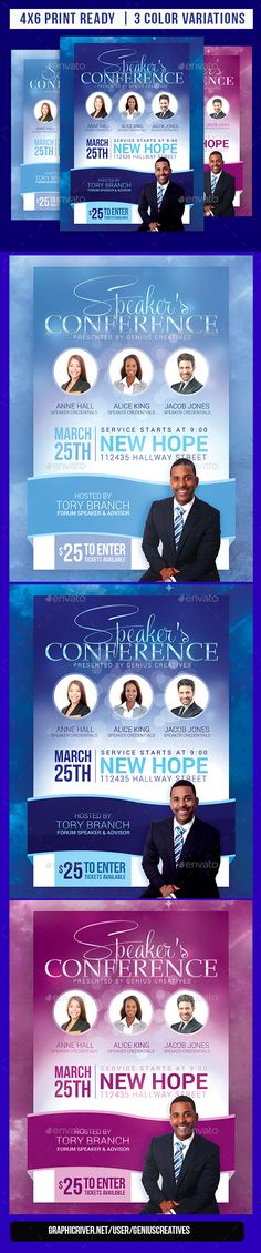 Speaker's Conference Flyer Template Church Conference / Event/ convention Flyer Template 3 color variations included Speakers' Conference Design Template is a Nice vivid design with a great layout for any church event, conference, or speaking engagement. This flyer is great for any inspirational event promotion, marketing campaign or, promotional mail-out. This design will definitely help you standout and get the attention of the people you wish to market to.