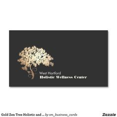 Gold Zen Tree Holistic and Alternative Health Double-Sided Standard Business Cards (Pack Of 100)