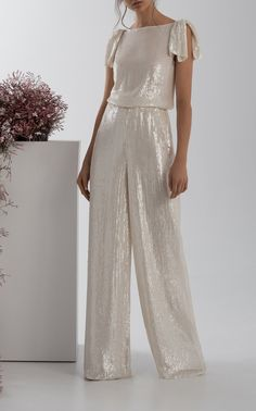 Orla High-Rise Wide-Leg Sequin Pants by Rachel Gilbert Sequin Pants, Sequin Top, Mom Dress, Dress Up, Stylish Dresses For Girls, Rachel Gilbert, Elegant Outfit, Office Outfits, Dress To Impress