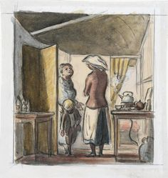 A Medical Aid Post in a Tube Station. Sister has a new patient Watercolour: Ardizzone, Edward Jeffrey Irving 1941 image: A sister greets a woman and small boy who are entering the room. Behind her is a table with kettle, teapot and cups. Book Illustrations, Children's Book Illustration, Edward Ardizzone, Small Boy, Teapots And Cups, Children's Books, Color Splash, Ww2, A Table
