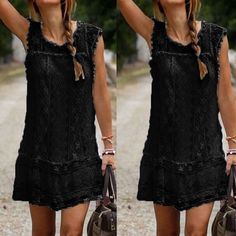Tassel Solid White Black Mini Lace Dress