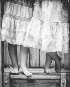 Black and white lifestyle photo of twin sisters. Artistic Portrait Photography, Twin Sisters, Pet Portraits, Newborn Photography, Lace Skirt, Studios, Black And White, Lifestyle, Sweet
