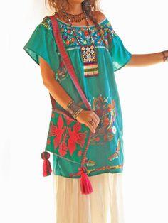 Jade Mexican vintage embroidered bohemian dress by AidaCoronado, $98.00