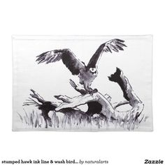 stumped hawk ink line & wash bird drawing cloth place mat Bird Drawings, Moose Art, Greeting Cards, Ink, Stock Photos, Natural, Artwork, Gifts, Animals