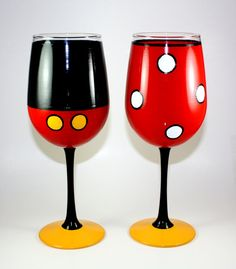 Set of two hand painted wine glasses Mickey by ImpulsiveCreativity, $45.00 #handpainted #Disney #diy