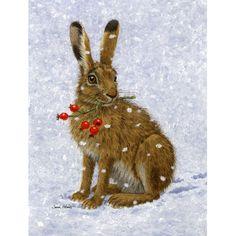 Caroline's Treasures Rabbit Hare and Rosehips Glass Cutting Board Christmas Animals, Christmas Art, Christmas Greetings, Lapin Art, Photo D Art, Rabbit Art, Bunny Art, Hare, Pet Birds