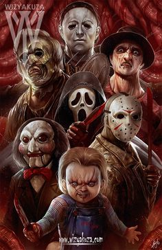 Michael Myers Leatherface Ghostface Billy Saw Chucky Jason Voorhees Freddy Krueger Horror film icons and my childhood. Arte Horror, Horror Art, Clown Horror, Horror Movie Characters, Horror Movies, Horror Villains, Chucky, Horror Pictures, Horror Icons
