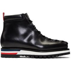 Moncler Gamme Bleu Black Leather Lace-Up Boots ($1,120) ❤ liked on Polyvore featuring men's fashion, men's shoes, men's boots, black, mens square toe shoes, mens lace up shoes, mens lace up boots, mens square toe boots and mens black boots