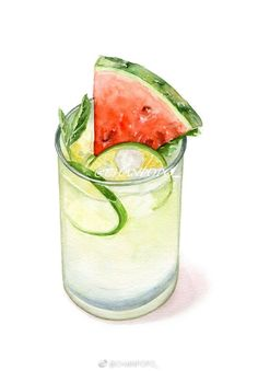 Limeade with watermelon Free Illustration, Cocktail Illustration, Watermelon Illustration, Watercolor Food, Watercolor Paintings, Food Clipart, Cute Food Art, Food Sketch, Food Painting
