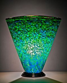 Blue and Green Fan Shape Lamp: Curt Brock: Art Glass Table Lamp - Artful Home