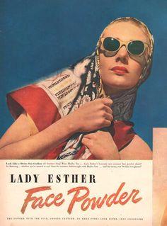 1947 Malibu Tan Face Powder make-up print ad vintage decor Lady Esther cosmetics Vintage sunglasses fashion