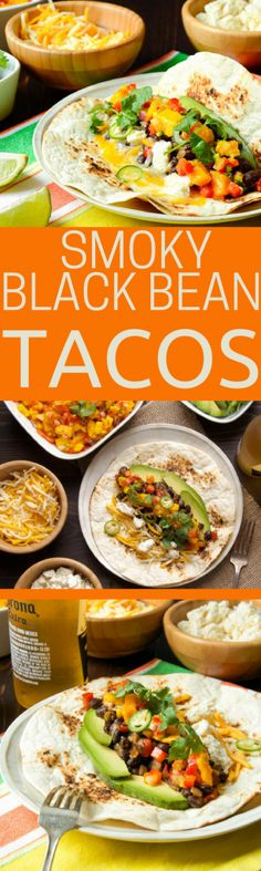 This easy budget-friendly, vegetarian taco recipe is ready in minutes and is so healthy and satisfying. Smoky Black Bean Tacos are great with jarred sauce and a better with homemade mango salsa. Best bean tacos ever!#tacos #tacorecipe #vegetariantacorecipe #beantacos #beantacorecipe #blackbeantacos #quesofresco #blackbeans #tacos #mexicanfood #mexicanfoodrecipes #budgetfriendlymeals #cheapeats #pulses #quesofresco #cannedbeans #tortillas #cincodemayo #cincodemayorecipes #meatlessmondays