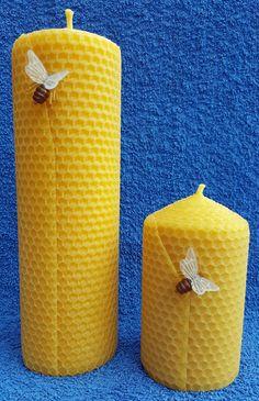 gerollte-wabenkerzen Pillar Candles, Honey Bees, Candles, Taper Candles