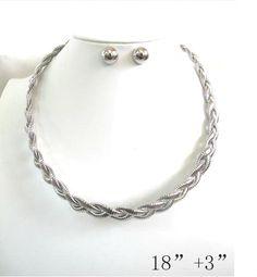 Fashion Women Silver Tone Rope Plaque Choker Necklace + Half Sphere Earrings Set…