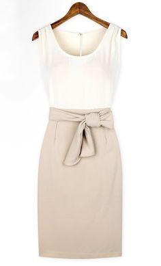 White Grey Sleeveless Belt Bodycon Dress - Sheinside.com