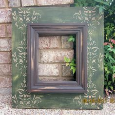 Items similar to Bilateral Damask Print Distressed Frame, Olive / Linen / Mudslide on Etsy Distressed Picture Frames, Painted Picture Frames, Frames On Wall, Frame Crafts, Diy Frame, Wood Crafts, Photo Frame Decoration, Picture Frame Decor, Cadre Photo Diy