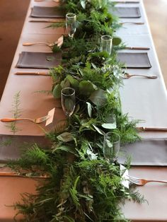 This beautiful Table runner we created for a dinner party made with Plumosa, Sil. This beautiful Table runner we created for a dinner party made with Plumosa, Silver Dollar and Baby Fern Wedding, Garland Wedding, Botanical Wedding, Wedding Centerpieces, Wedding Table, Wedding Decorations, Potted Plant Centerpieces, Farmhouse Table Centerpieces, Wedding Ideas