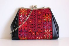 traditional Palestinian embroidery on black leather purse Leather Bags Handmade, Handmade Bags, Embroidery Bags, Embroidery Patterns, Cross Stitching, Cross Stitch Embroidery, Cross Stitch Designs, Cross Stitch Patterns, Ethnic Bag
