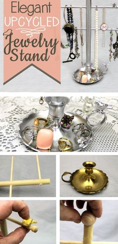 Make this beautiful, classy jewelry stand from something you can find at almost any thrift store... an old fashioned candle holder! Just add dowels & paint!