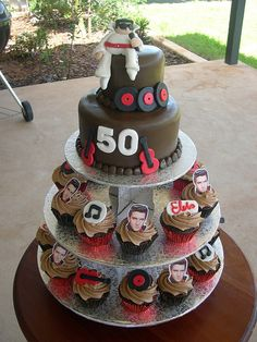 50th Birthday Cake and cupcakes for an Elvis theme party