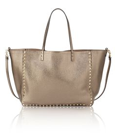 Valentino rockstud reversible metallic leather tote