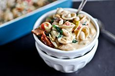 Creamy Tuscan White Bean Pasta: Relatively healthy (1 tbsp butter, low-fat milk, 1/4 cup pancetta, whole wheat pasta) for a comforting baked pasta.