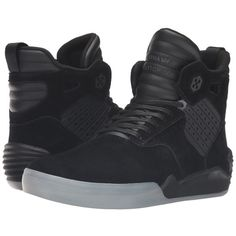 Supra Skytop IV (Black Leather/Suede) Men's Skate Shoes ($140) ❤ liked on Polyvore featuring men's fashion, men's shoes, men's sneakers, mens leather shoes, mens shoes, mens hi top sneakers, mens high top sneakers and mens sneakers