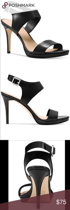 """Michael Kors Claudia Heels Complete your look with the sleek styling of these Claudia sandals by Michael Kors Patent leather upper; rubber sole Imported Almond open-toe sandals with buckle closures,  1/2"""" platform, 3-3/4"""" wrapped heel. Michael Kors Shoes Heels"""