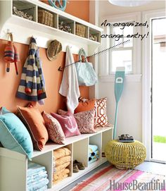 orange organized entry and love these pillows!