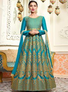 Gauhar Khan Sky Blue Silk Ankle Length Anarkali Suit 118370